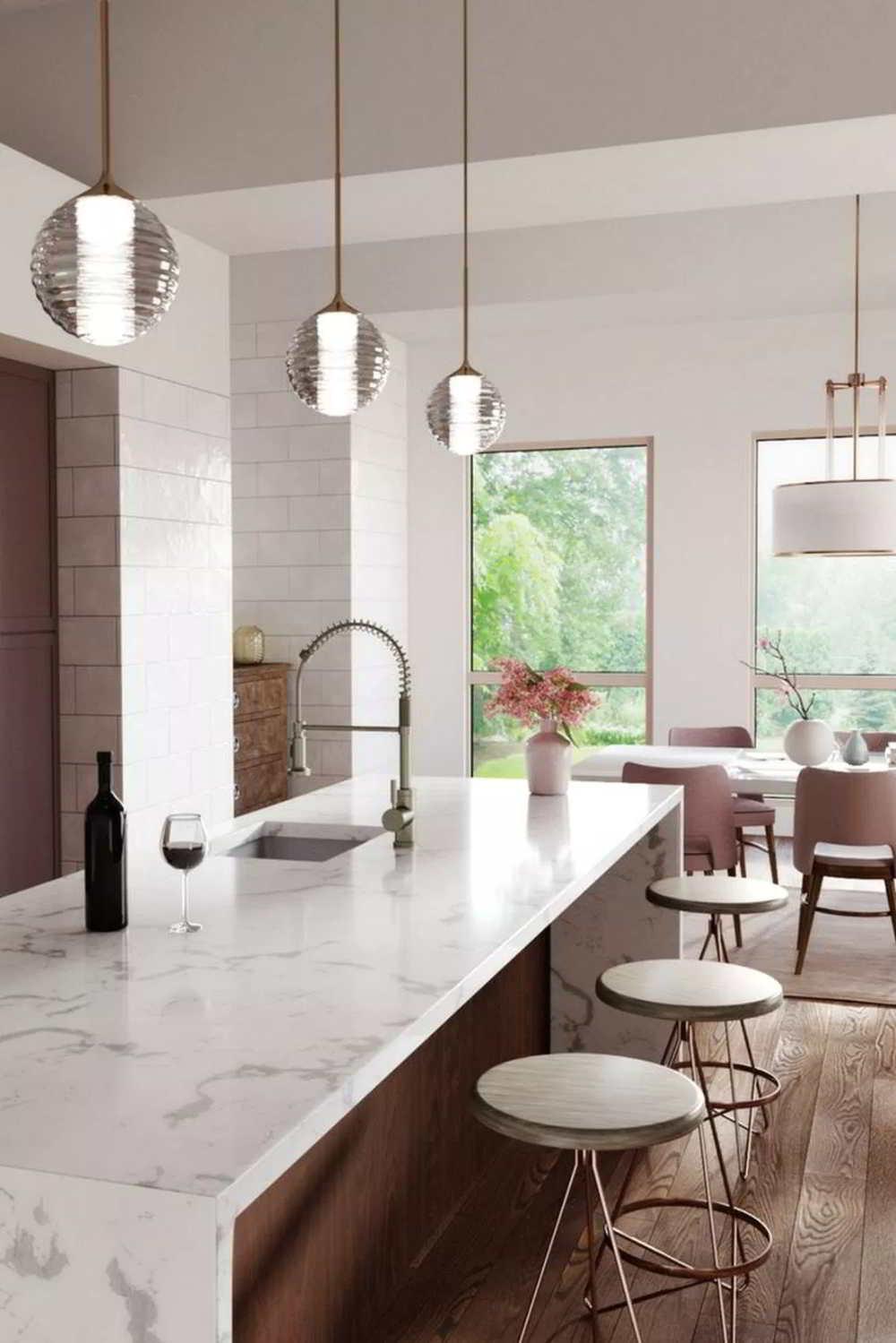 ilha de cozinha branca iluminada