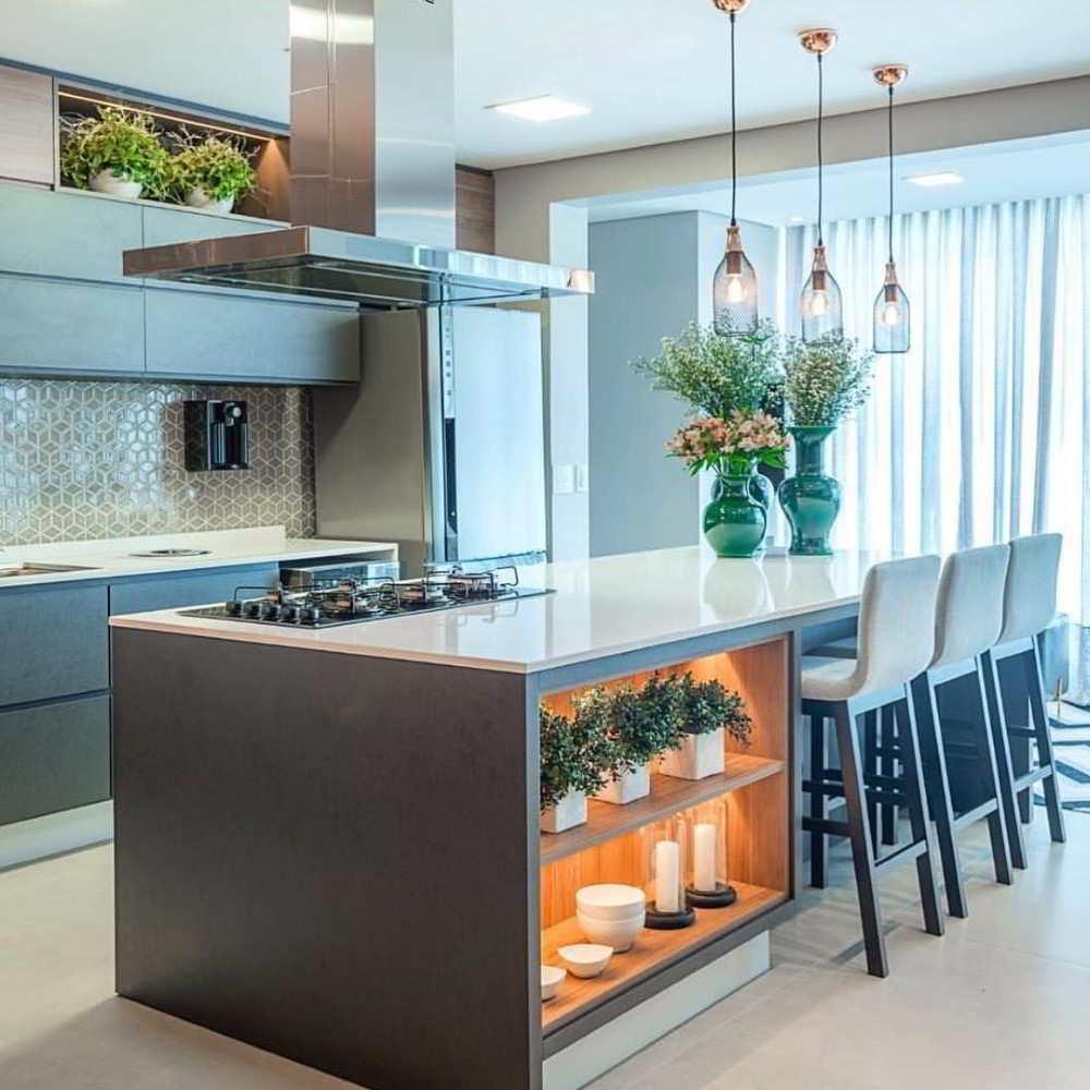 cozinha com ilha de alvenaria