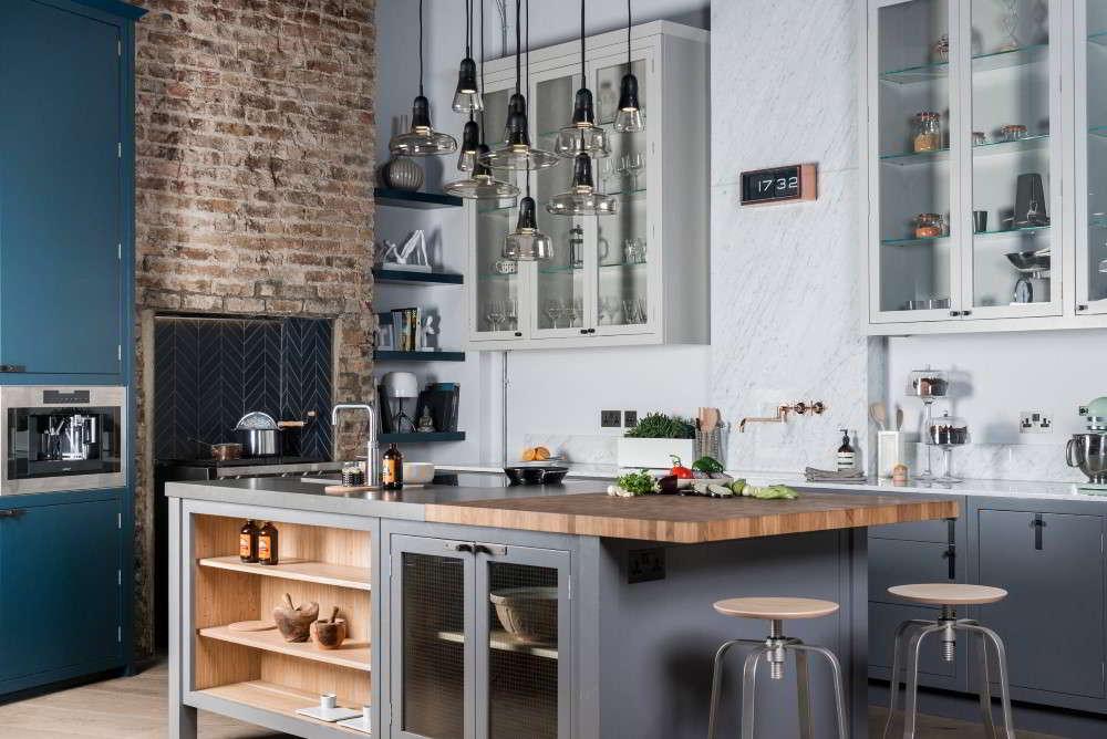 cozinha com ilha cinza