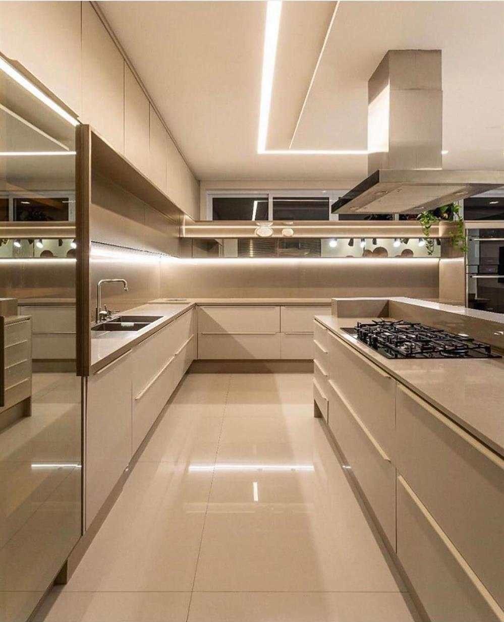 cozinha com luz de led