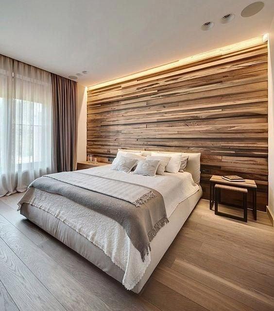 Parede de madeira para quarto
