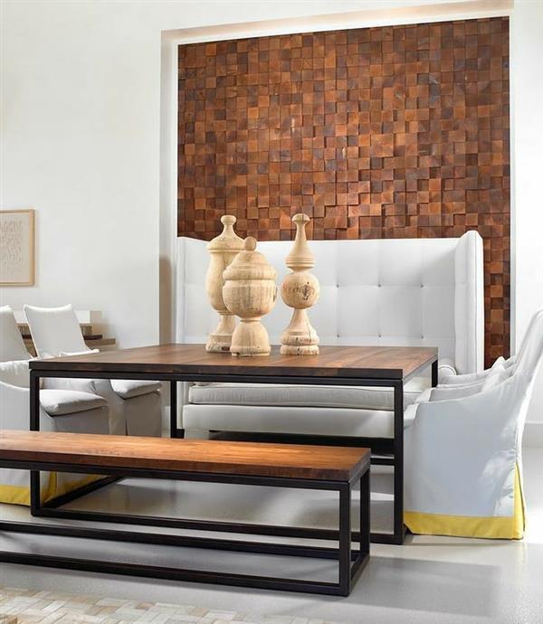 decoração com parede de madeira