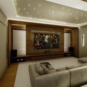 sala de cinema em casas com luzes