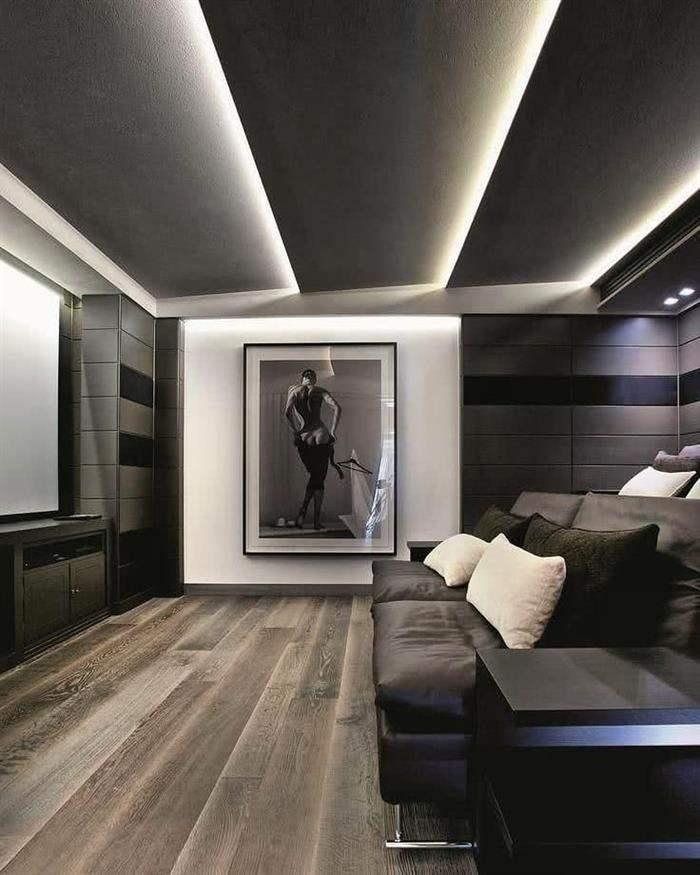 sala de cinema pequena com iluminação