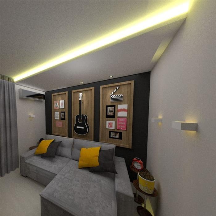 sala de cinema residencial simples