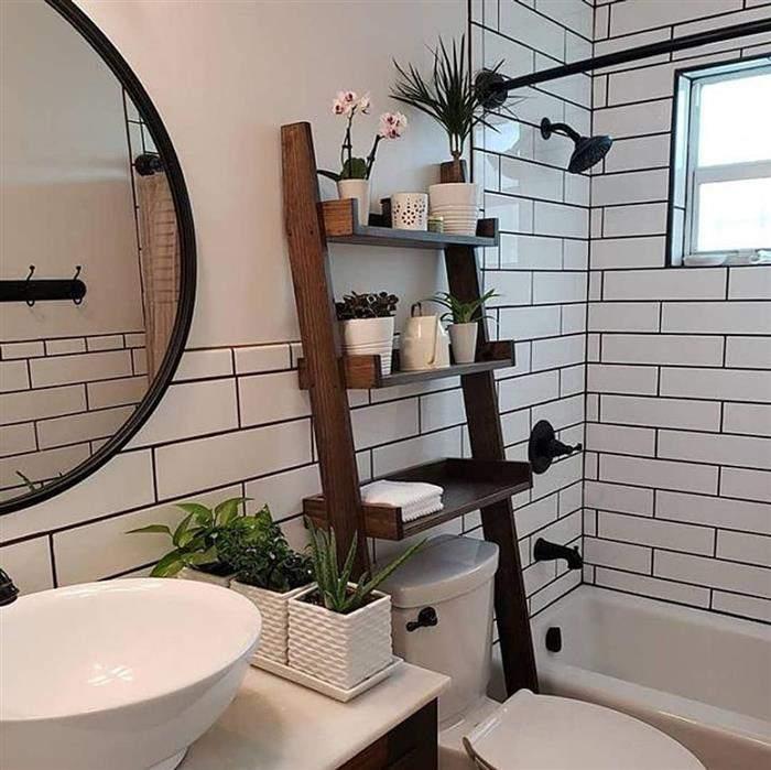 banheiro branco rustico