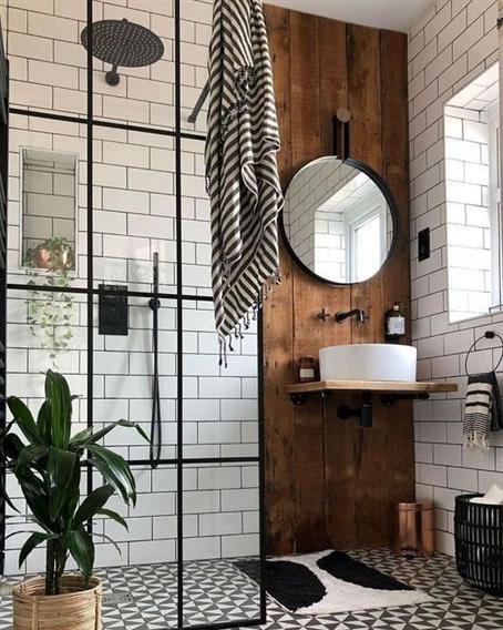 banheiro rústico chique