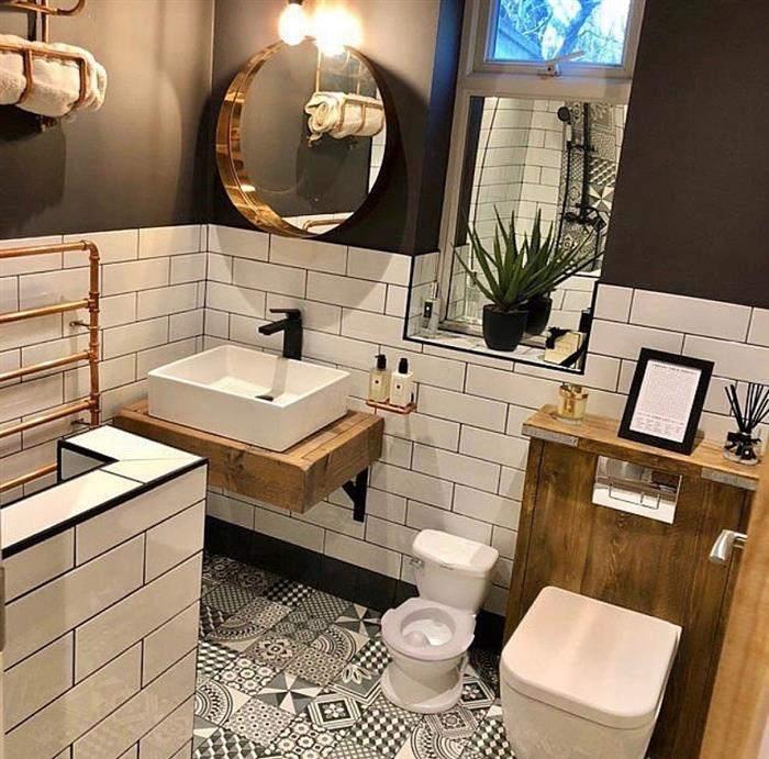 banheiro rustico com cimento queimado