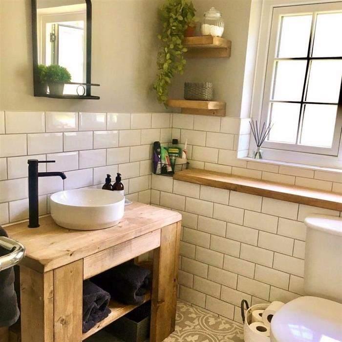 banheiro rustico madeira