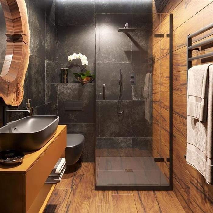 banheiro rustico moderno