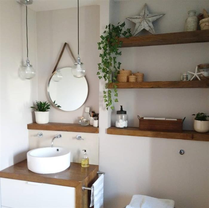 decoração de banheiro rustico