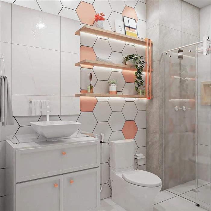 banheiro com piso geometrico