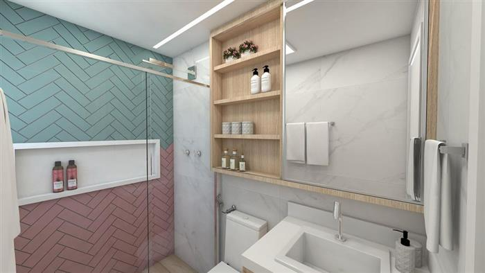 banheiro rosa e azul