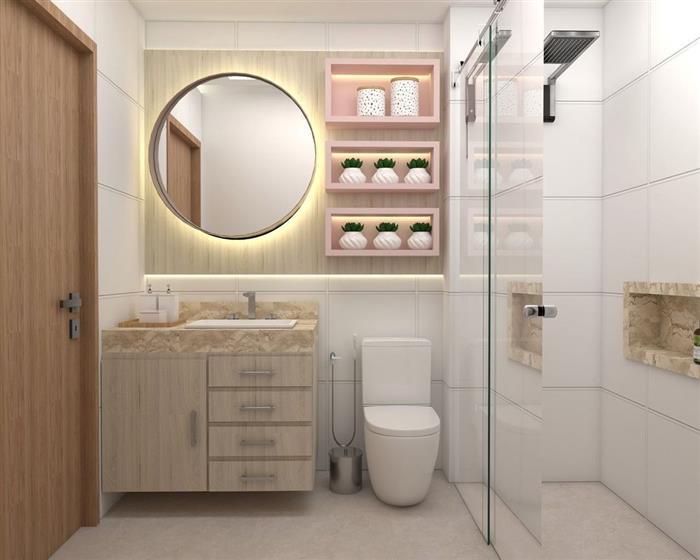 banheiro com nichos rosa