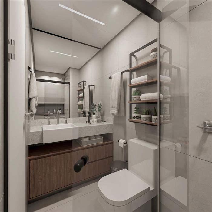 banheiro com metal