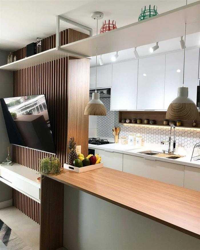 sala com dois ambientes entre a cozinha