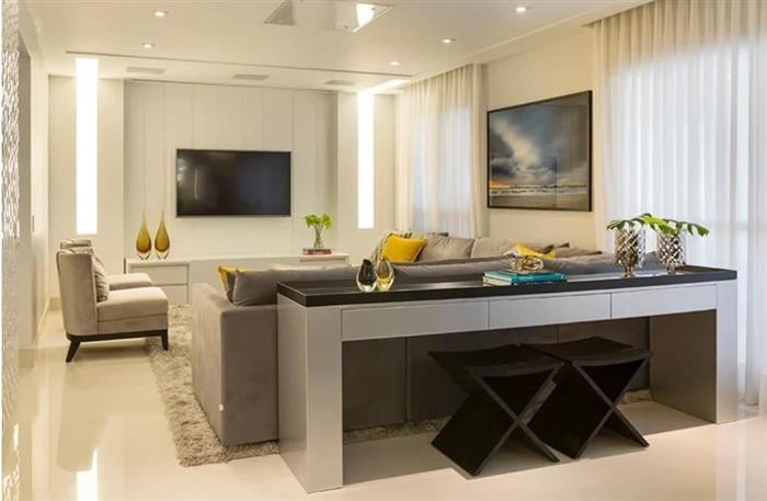 sala com dois ambientes estar e tv