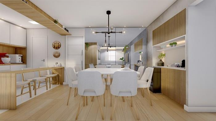 sala com dois ambientes lustres
