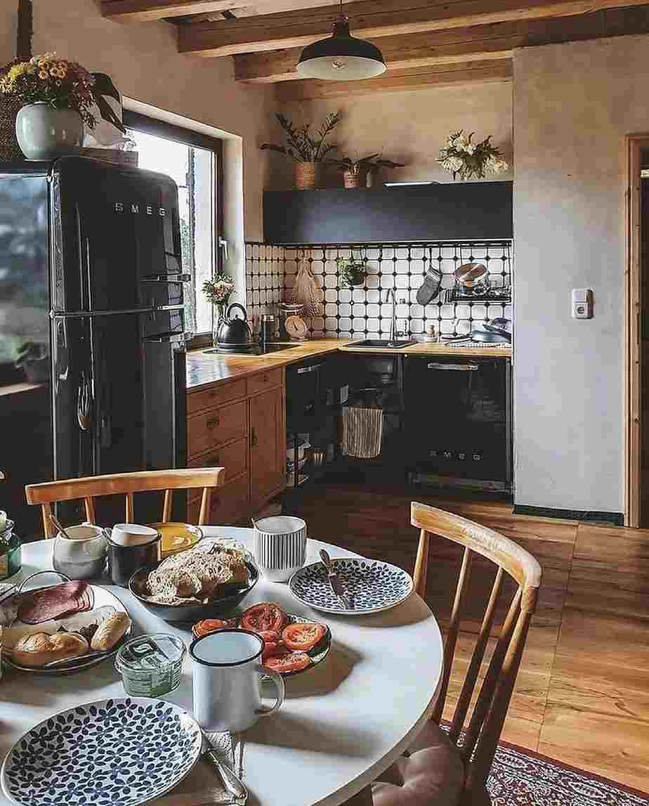 cozinha aberta com sala simples