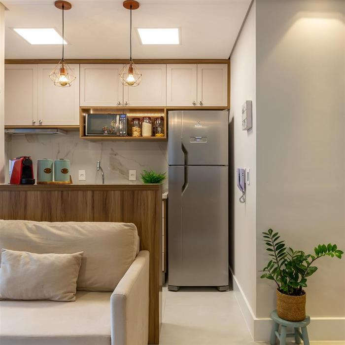 cozinha aberta para sala de estar