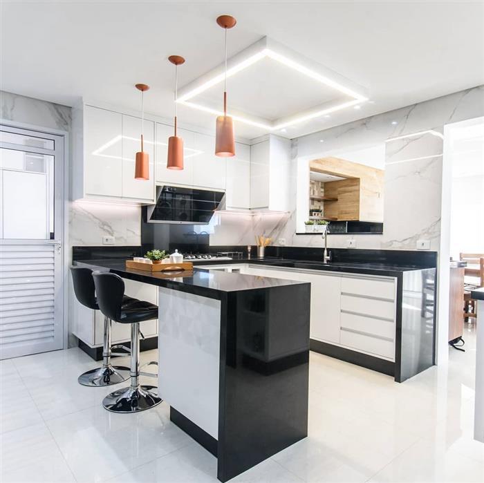 cozinha americana de mármore